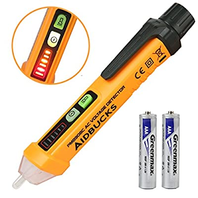 Non-Contact Voltage Tester Electrical Voltage Detector Pen 12-1000V AC Inductive Electric Tester Pen Digital Multimeter Volt Meter with Alarm Mode Live/Null Wire Judgment Aidbucks PM8908C