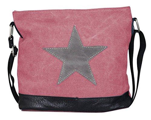 PiriModa - Bolso al hombro de Otra Piel para mujer Multicolor multicolor Modell 3 Rosa/Grau