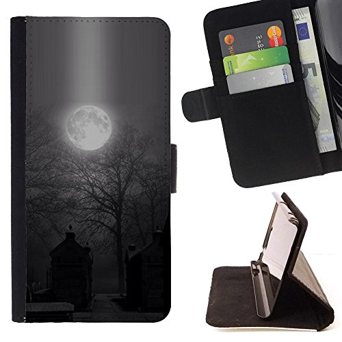For Samsung Galaxy S6 Active G890A,S-type Moon Spooky Graveyard Halloween - Drawing PU Leather Wallet Style Pouch Protective Skin Case