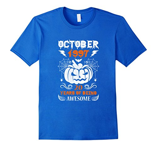 Halloween Costume Ideas 20 Yr Old (Mens Made in October, 1997 - 20th Birthday - Halloween T-shirt Small Royal Blue)