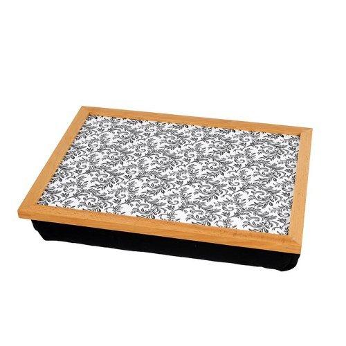 HAB & GUT Tablettkissen mit Holzrahmen schwarz-weiss Ornament (tk103)