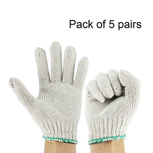Ezyoutdoor 5 pairs White Factory Industry Knitted Cotton Work Protect Gloves,Full Finger Elastic Working Work Gloves Protector