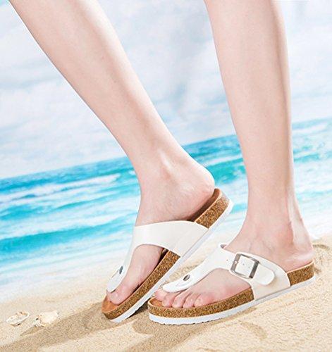 ZKOO Chanclas Footbed De Corcho Mujeres Punta Abierta Vendaje Zapatillas Verano Zapatos de Ajustable Hebilla Sandalias De Playa Blanco