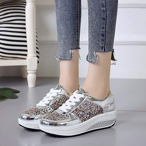 Lovescenario Spring and Autumn New Single Shoes Female Sequins Color Diamond Wedges Rocking Shoes Students Casual Sports Shoes