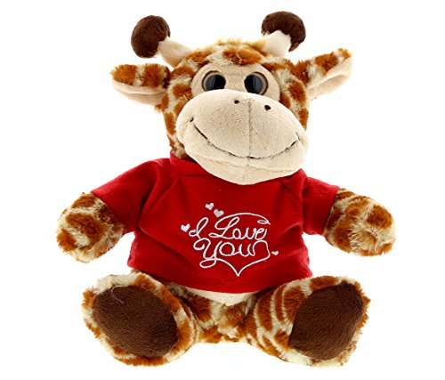 DolliBu Sitting Giraffe I Love You Valentines Stuffed Animal - Red Message Tshirt - 7 inch - Super Soft Plush - Item #K5191-5994