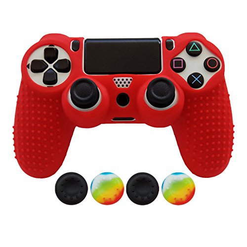 Hikfly Non-Slip Studded Rubber Oil Silicone Controller Cover with 4pcs Thumb Grips Caps Kit for Sony PS4/Slim/Pro Controller(Red)