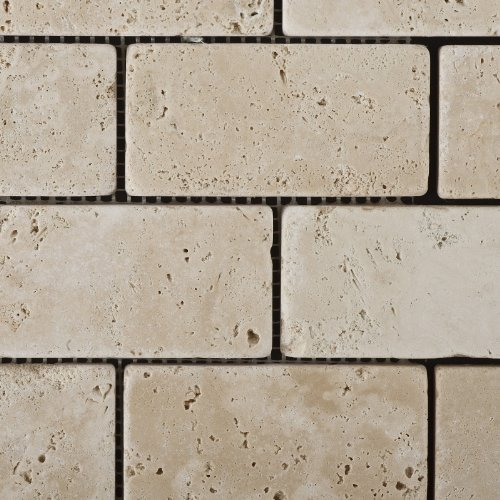 durable service Ivory Travertine 2 X 4 Tumbled Brick Mosaic Tile - Box of 5 sq. ft.