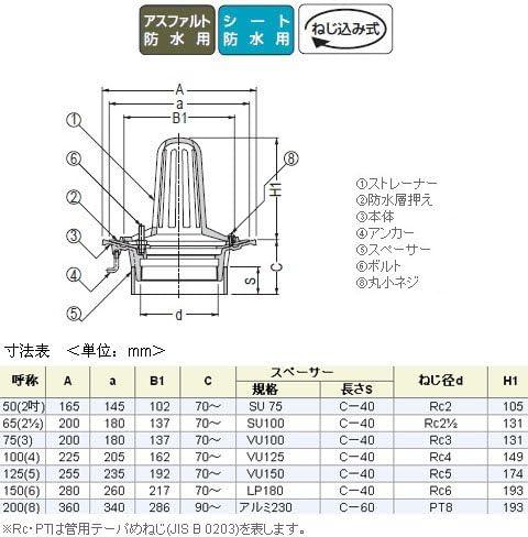 カネソウ ステンレス鋳鋼製ルーフドレイン たて引き用 打込型 屋上用(呼称65) ※メーカー直送代引不可 ESSP-2-65