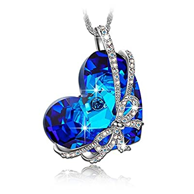 "Qianse ""Heart of the Ocean"" Bowtie Pendant Necklace Made with SWAROVSKI Crystal, Women Heart Jewelry"