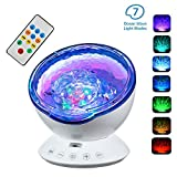 TKSTAR Ocean Wave Music Projector,LED Night Light Projector with Remote Controller 4 Sounds&7 Lights&12 LED Beads Projection for Children Adults Bedroom Relax Sleep (Remote Control OL104)