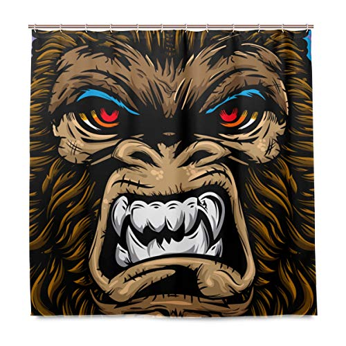 MIGAGA Decoration Shower Curtain Shower Angry Gorilla Monkey Beast Mode Face Bath Curtains Waterproof Fabric Bathroom Decor Set with Hooks -