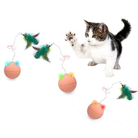 Nice Dream Juguete Interactivo para Gatos, Bola de Gato con Plumas ...