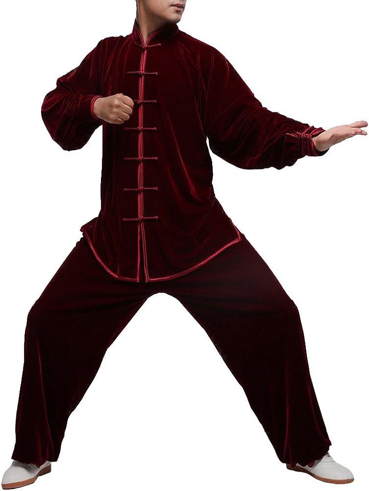 オーダーメ-ド職人仕上げベルベット手作りユニセックスバーガンディー太極拳スーツセット #105  L