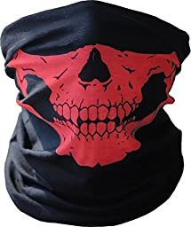 Diageng Black Seamless Skull Face Tube Mask BUFF-Thin Red