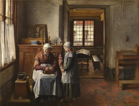 Of Dance Birds Paradise Costume (The High Quality Polyster Canvas Of Oil Painting 'Henri De Braekeleer - Grandmother's Feast, Later Part Of 19th Century' ,size: 8x10 Inch / 20x27 Cm ,this High Resolution Art Decorative)