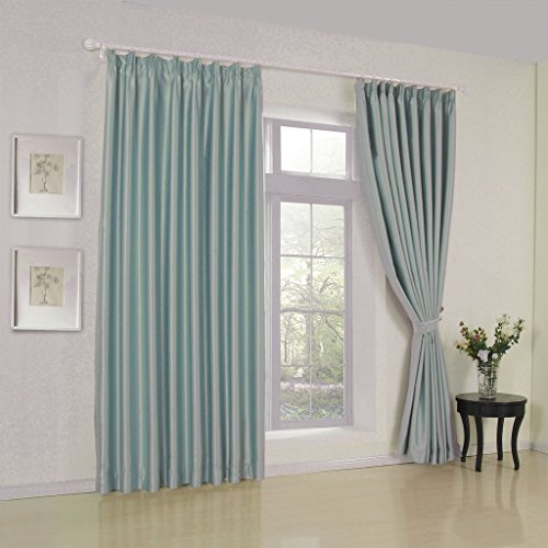 IYUEGO Modern Classic Sky Blue Solid Grommet Top Lining Blackout Window Curtains/Drape/Panels/Treatment With Multi Size Custom 100″ W x 102″ L (One Panel) For Sale