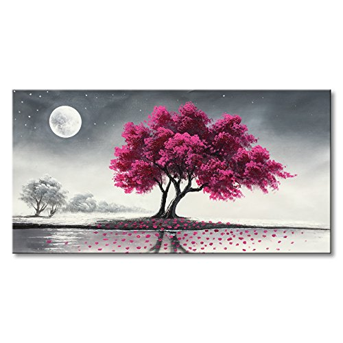 Everfun Art Purple Tree Oil Painting on Canvas Hand Painted Moon