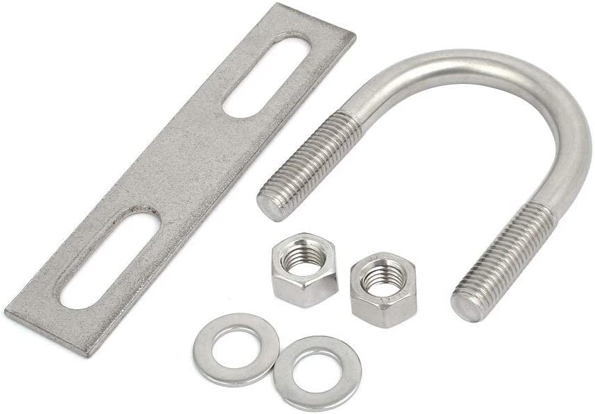 M12x51mm 304 Stainless Steel Round U Screw with Flat Plate and Hexagonal nut Washer
