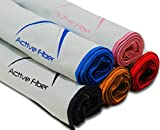 (Set of 5, Black) Active Fiber Premium Microfiber Sports and Travel Towel !100% Guaranteed! 300 GSM, Smooth, Super Absorbent, Quick Drying, Compact and Antimicrobial! Fitness Towel offers
