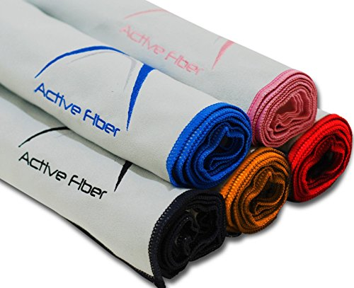 Black Active Fiber (USA) Premium Sports and Travel Towel- !100% Guaranteed, LIKE IT OR ITS YOURS FREE! Smooth, Super Absorbent, Quick Drying, Compact and Antimicrobial! Outdoors and workout Towel.