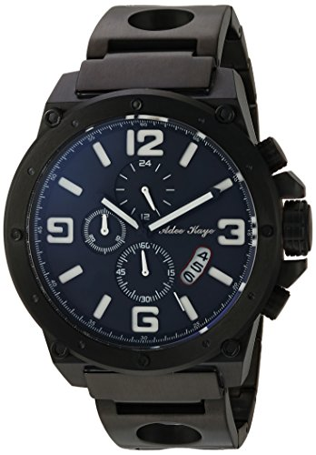 Adee Kaye Men's Quartz Stainless Steel Dress Watch, Color:Black (Model: AK8896MB-MIPB/WT)