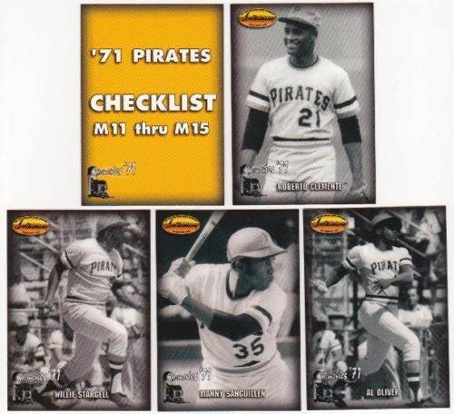1993 Ted Williams Card Co 5 card 1971 Pirates '71 MEMORIES INSERT SET includes CLEMENTE STARGELL OLIVER SANGUILLEN