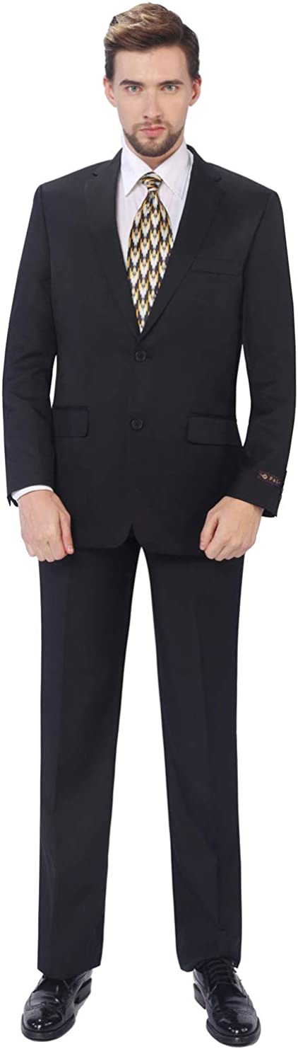 P&L Men's 2-Piece Classic Fit Single Breasted 2 Buttons Blazer & Trousers Suit