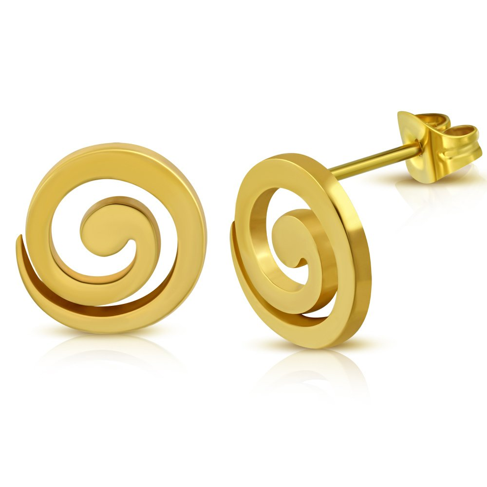 JES332 Gold Color Plated Stainless Steel Spiral Circle Stud Earrings pair