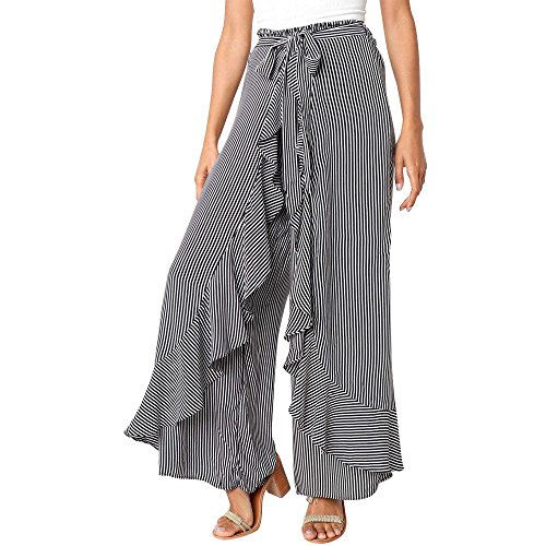MILIMIEYIK Palazzo Pants for Women, Fashion Casual High Waist Striped Wide Leg Elastic Long Belt Ladies Summer Trousers ()