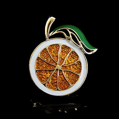 DMI Summer Holiday Gold-Tone Lovely Orange Brooch Art Deco Accessories by DMI (Image #1)