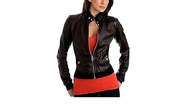 New Women Motorcycle Lambskin Leather Jacket Coat Size XS S M L XL LTN658