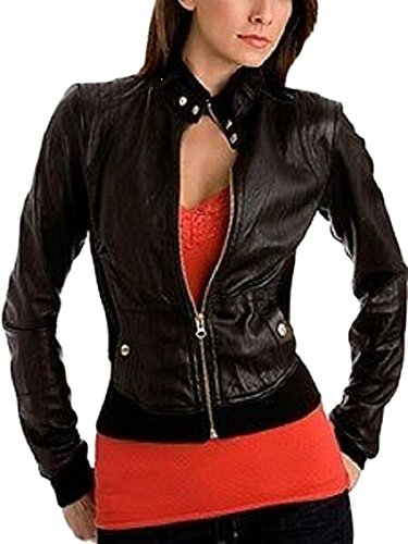 Noir Leather Blouson Leather Femme Junction Junction dXxqOOwFR