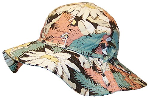 David & Young Womens Wide Brim Bucket Hat W/Floral Designs (One Size) - Salmon/Green/Yellow/Brown
