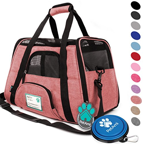 (PetAmi Premium Airline Approved Soft-Sided Pet Travel Carrier | Ventilated, Comfortable Design with Safety Features | Ideal for Small to Medium Sized Cats, Dogs, and Pets (Small, Heather White Red))