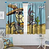 Chaneyhouse Cartoon Waterproof Window Curtain Mexican Man Wearing Sombrero Hat Riding a Donkey in The Desert with Cactus Plants Blackout Draperies for Bedroom 63'' W x 63'' L Multicolor