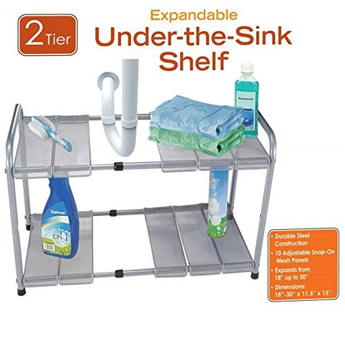 ATB 2 Tier Expandable Adjustable Under Sink Shelf Storage Shelves Kitchen Organizer