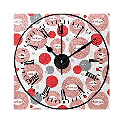 YOYUPRO Thank You Pink Square Decorative Wall Clock 8-inch Silent Non Ticking Home/Office / Kitchen/Bedroom / Living Room