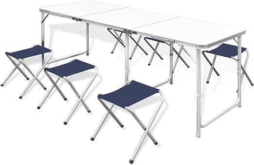 vidaXL Mesa de Camping Portátil Plegable 6 Taburetes Aluminio Muebles Jardín
