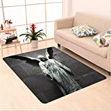 Nalahome Custom carpet n Sculpture of an Angel with Dark Background Catholic Belief Century Old Artwork Pattern Dimgrey area rugs for Living Dining Room Bedroom Hallway Office Carpet (6.5' X 10')