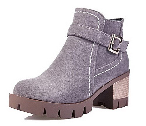 Allhqfashion Women's Kitten-Heels Frosted Low-Top Solid Zipper Boots Gray