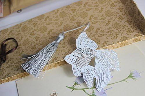Creativo in acciaio INOX a mano segnalibro metallo argento Mark pagina con nappa Book Marker per materiale scolastico cancelleria regalo per ragazze ragazzi adulti Bookworms Golden Fish
