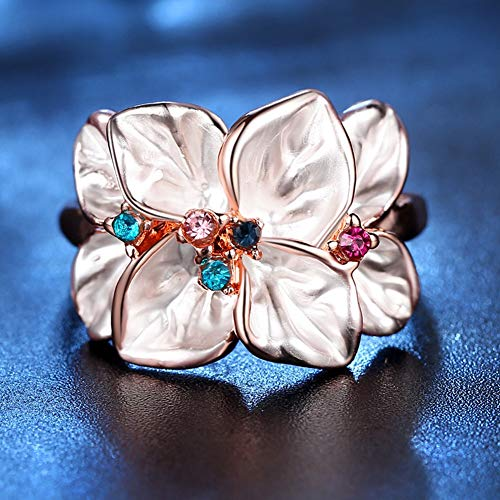 Slendima Petal Shape Faux Crystal Ring Women Cocktail Party Banquet Fashion Jewelry Gift Rose Gold US 9 by Slendima (Image #5)