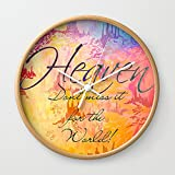 Society6 HEAVEN Don't Miss It For The World, Happy Watercolor Pastel Colorful Typography Christian Painting Wall Clock Natural Frame, White Hands