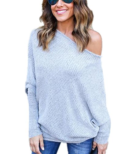 YOSICIL Femme Sweater T-Shirt Col Bateau Sexy Shirt Pull Manche Longue Chandail Top Tricot Casual Pull-Over Blouse Casual Automne-Hiver 2017 Gris