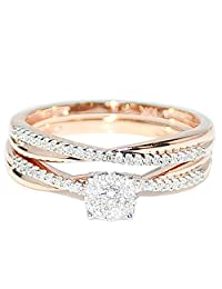 1/4cttw Diamond Bridal Set 10K Rose Gold Engagement Ring And Band Set( 0.25cttw)