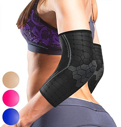 Sparthos Elbow Compression Sleeves (Pair) - Tendonitis Golfer's Tennis Elbow Brace Support for Men and Women - Arm Injury Recovery & Prevention Biceps Triceps Joint Pain Relief (Black-L)