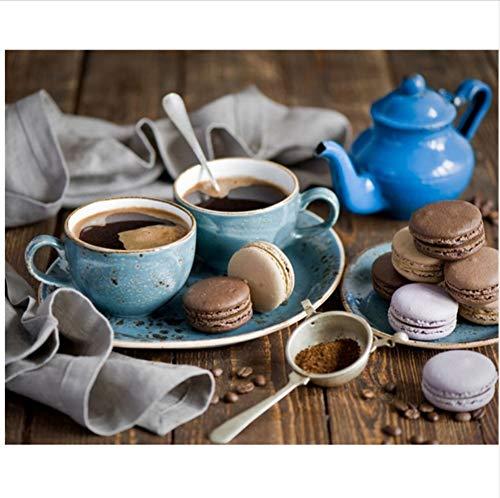 CZYYOU DIY Digital Malerei by Zahlen Kaffee Macarons Ölgemälde Wandbild Kits Färbung Wandkunst Bild Geschenk - Mit Rahmen - 50x60cm B07PQT3YS8   Elegant und feierlich