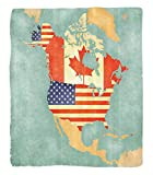 Chaoran 1 Fleece Blanket on Amazon Super Silky Soft All Season Super Plush Werlust Decor Collectiontates Canada Outline Map of the North America in Grungetylizedoft Colors Fabric et