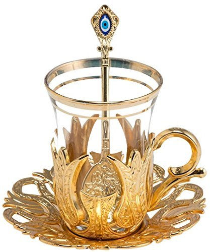 (LaModaHome 24 Pieces Tea Glasses with Holders Spoons and Saucers Set of 6 - Vintage Teapot Tulip Design Ottoman Arabic Gift Set, Gold)