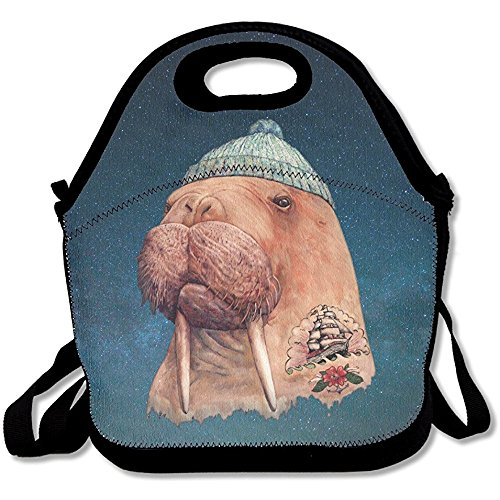 Staropor Tattooed Walrus With Cute Hat Lunch Tote Bag Picnic Lunchbox Insulated Reusable Container Organizer Form Adults, Kids